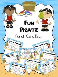 Fun Pirate punch card pack Included are 8 sets of 8 punch cards with spots for 5, 10, and 15 books or other items. After completing a task or reading each item, students get their card punched with a hole punch or you can initial each circle. Once the card is complete, the card can be redeemed for a small prize.