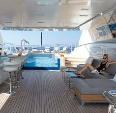Yacht with a pool.