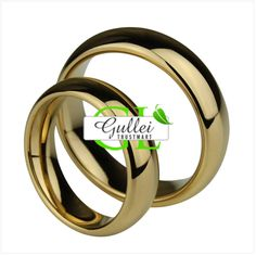 18K Gold Plated Tungsten Engravable Couple Ring Set - $58.00