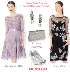Monsoon fine tulle layered embellished cocktail dresses and occasion accessories