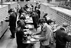 c. 1950-1970 : People using Cincinnati Public Library Card Catalog