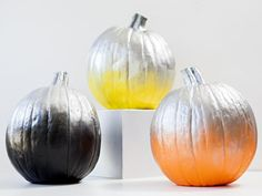Modern Silver + Neon Pumpkins >> http://www.diynetwork.com/decorating/11-unusual-ways-to-decorate-a-halloween-pumpkin/pictures/index.html?i=1?soc=pinterest