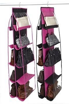 College Closet Essential - 10 Shelf Handbag Organizer - Black & Fuschia