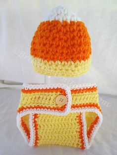 Cute Candy Corn Crochet Photo Prop  Get those absolutely cute pics of your little one as a CANDY CORN!!  Grab it now before they grow too big to wear it!  If you're a photographer, don't wait to snatch this up for your prop collection!!  Always handmade with LOVE!!  This comes from a sm...