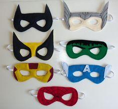 Felt superhero masks with FREE templates!  Source:http://cutesycrafts.blogspot.com/2012/07/superhero-party-masks.html
