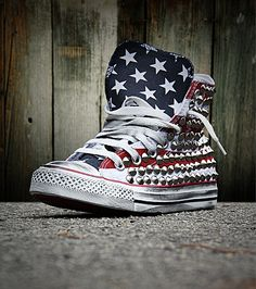 """Muffinonline Converse All Star """"Chuck"""" Taylor conical studs finish on the sides and Skull studs on the back $200~"""