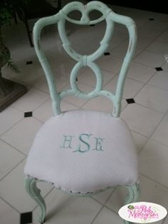 Monogrammed Chair seat in Tiffany Blue