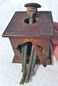 antique black americana wooden toy - primitive jack-in-the-box