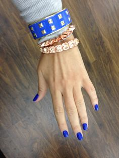 ❤ • #bracelets • #jewelery • #girls • #chains •. #summer • #spring • #style • #fashion • #trend • #ootd • #accessories • #studs • #nails • #cobalt • #spikes