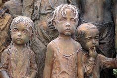 On 2 July 1942, most of the children of Lidice, a small village in what was then Czechoslovakia, were handed over to the Łódź Gestapo office. Those 82 children were then transported to the extermination camp at Chełmno 70 kilometers away. There they were gassed to death. This remarkable sculpture by by Marie Uchytilová commemorates them.