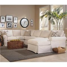 Masquerade 3-Piece Slipcover Sectional with Chaise by Rowe at Sprintz Furniture