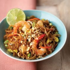 Pad Thai: I omitted the shrimp and doubled the chicken (because we don't eat shrimp).  Everything can be prepared ahead of time and then thrown in a pan and heated right before dinner time!  This would also be good with pan-fried tofu :)