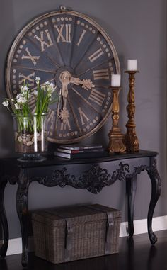 MY STYLE | STAGING & STYLING :: I want to do a setup like this w/ my big clock and a console in my living room.