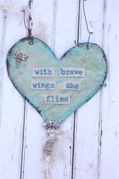 Brave Wings Heart Wall Art by Beth Quinn