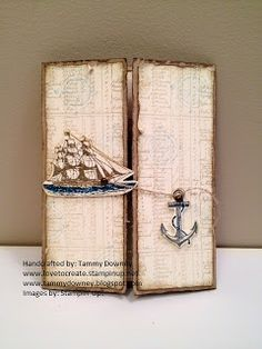 Love the anchor closure! Stampin Up card with The Open Sea
