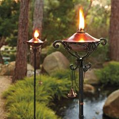 Handcrafted in pure copper and sturdy iron, our gorgeous Regent Torches are an exceptional value. An easy-to-fill copper reservoir sits atop a forged-iron base to illuminate the night with the warm glow of firelight.