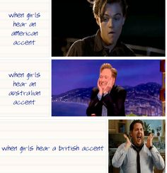 Hahahaha I used my fake British accent on my boyfriend and he became the last picture  Internet Site,  Website'S, British Funny, Australian Accent, Web Site, True, Funny Stuff, British Accent, Hilarious One Direction