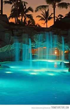 pool waterfall cave with a hidden porch