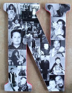 initial photo display- great grad or   Father's Day gift idea.  OR family Scrapbooks Letters, Monograms Letters, Crafts Ideas, Gift Ideas, Photos Letters, Grad Gift, Families Photos, Photos Display, Initials Photos