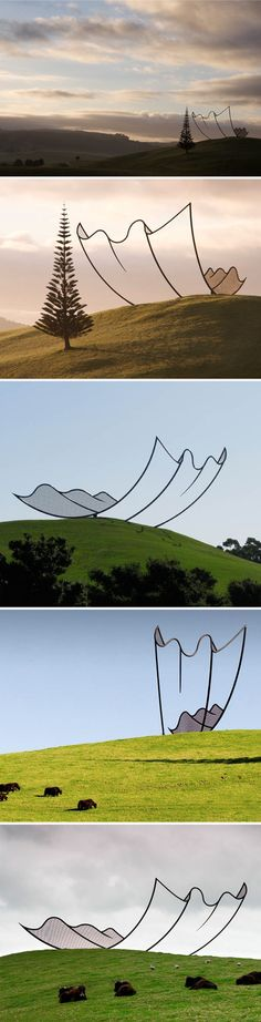 line drawings, art blog, neil dawson, the farm, art installations, paper sculptures, gibb farm, new zealand, land art