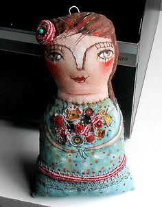 Original art doll folkart Doll with flowers OOAK by miliaart via Etsy.