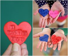 Stamped Polymer Clay Hearts for Kids to Make for Others -- how cute would these be for gift tags or necklaces?? <3 holiday, clays, idea, clay heart, gifts, gift tags, activ, polymer clay kids, kid craft