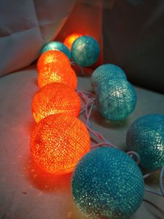 Turquoise & Orange Cotton Ball String Light  Fairy Light Bedroom or Party on Etsy, $11.50