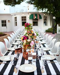 Striped table cloth with colorful flowers