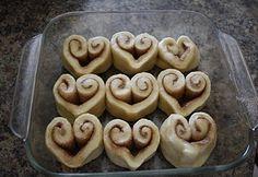 What a cute idea for Valentine's Day cinnamon rolls!
