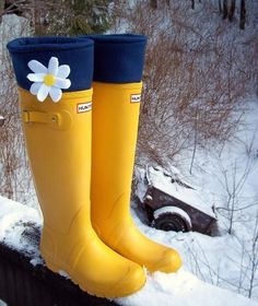SLUGS Fleece Snow Rain Boot Liners in Solid Navy with a White & Yellow Flower Daisy on the Cuff, Gifts For Her