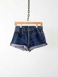 Vintage Levis Cut Offs / Levis Red Line Shorts / Waist 28
