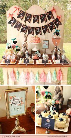 Chalkboard Floral Easter Printable Set by SweetScarletDesigns