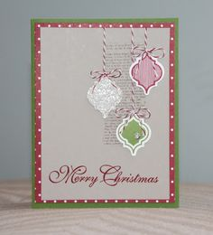 SU! Mosaic Madness stamp set; colors are Sahara Sand, Cherry Cobbler, Gumball Green and Silver Glimmer paper - Amy Bollman