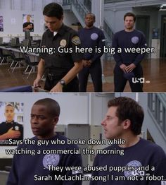 """""""I am not a robot"""" ahahahaha!!! #psych angel, robots, puppies, the police, funni, songs, psych, movi, quot"""