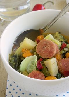Stewed Cabbage with Sausages (Serbian Cuisine)