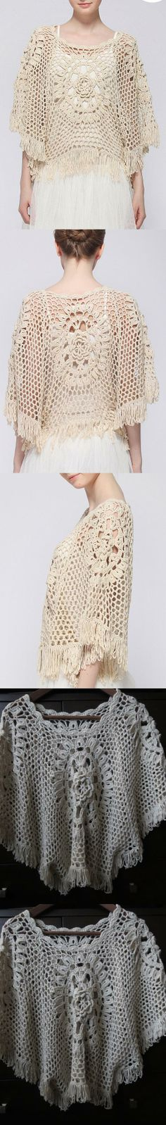 Handmade Crochet Lace Shawl Poncho Cape Blouse with Tassels Free Size Light Beige Color