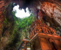 A temple deep in the Batu caves...