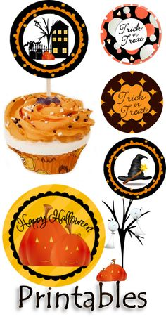 Halloween #Printables #Cupcake #Labels #Tags #Circles