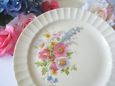 Vintage Knowles Pink Purple Floral Dinner Plates by thechinagirl