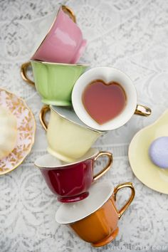 Tea Cups with Heart Shaped