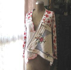 Romancing Rose Cardy, Vintage Embroidered, Linen, Pink, Red, White, Rustic, Boho, Cardigan, Upcycled