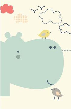 Hippy Hippo Art Print -shiny Orange dreams