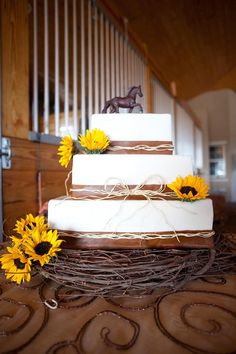 sunflower western wedding cake - Google Search