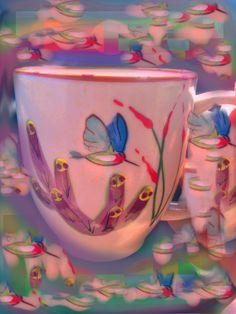 "Beautiful digital art interpretation of an HF Coors Hummingbird mug by one of our customers. It's called ""Stand still like a hummingbird."" #madeinUSA"