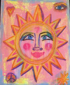 Hippie Art Original, Secrets Of Sunshine, Mixed Media Hippie Art Poster 11x14