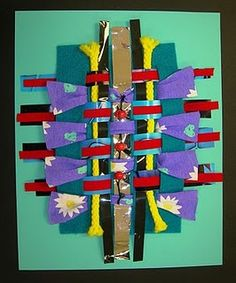 recycle weaving, nice other lessons on the site for KDG, 1st & 2nd graders north art, felt, art alert, art lesson, earth day, third grade, group projects, crates, first grade