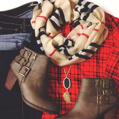 Plaid & buckle booties. Fall fashion