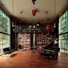library and piano. YES