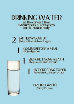 Drinking water at the correct time maximizes its effectiveness on the human body... good advice despite the spelling errors on the printable!