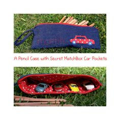 Zippered Pencil Case with Secret Pockets for your MatchBox Cars Tutorial